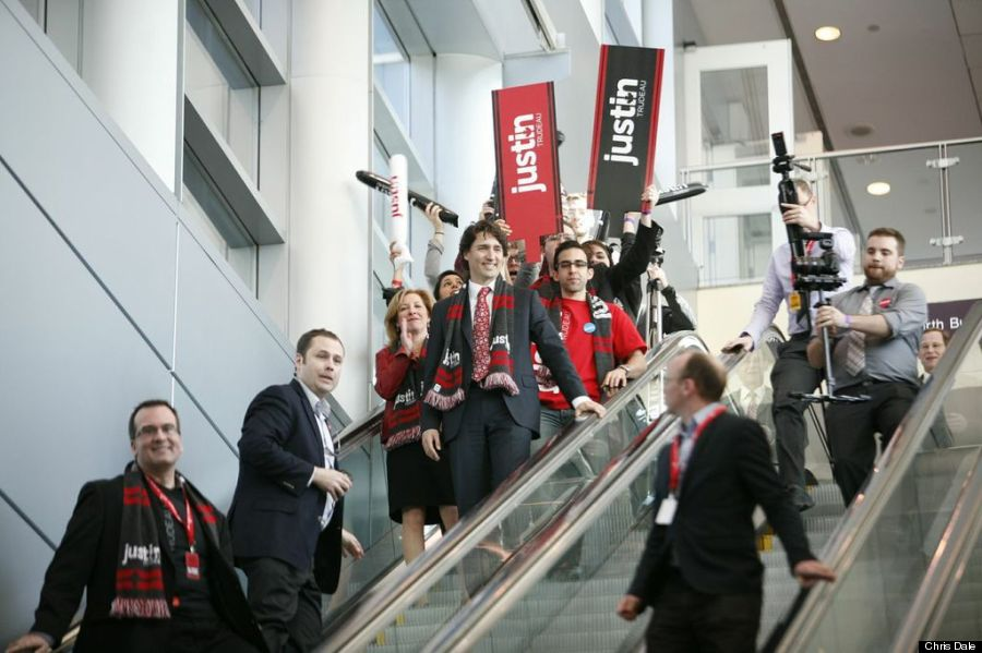 politician justin trudeau wearing promotional scarf