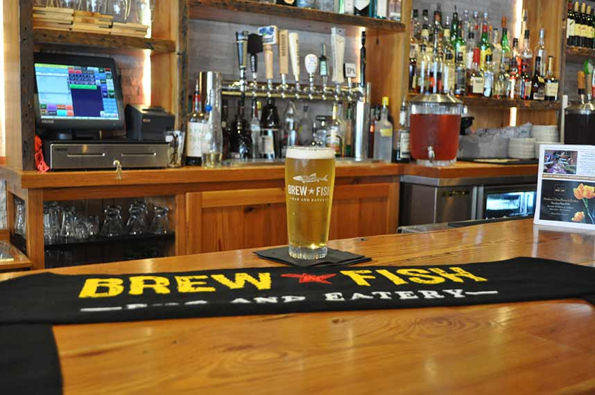 custom scarf on brewfish bar eatery bar