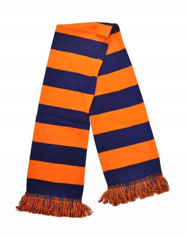 navy and orange bar scarf