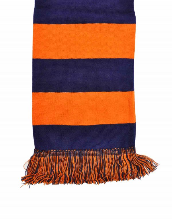 navy and orange bar scarf