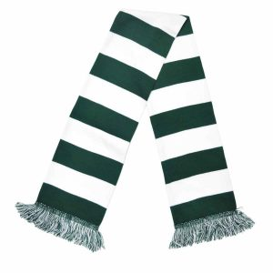 dark green and white bar scarf