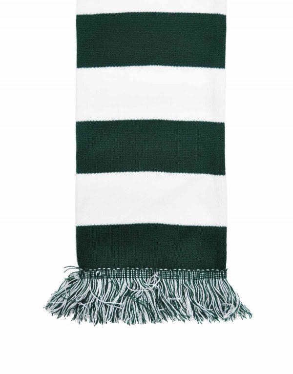 dark green and white bar scarf