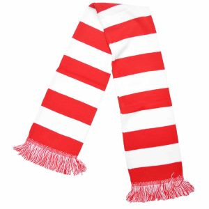 red and white bar scarf