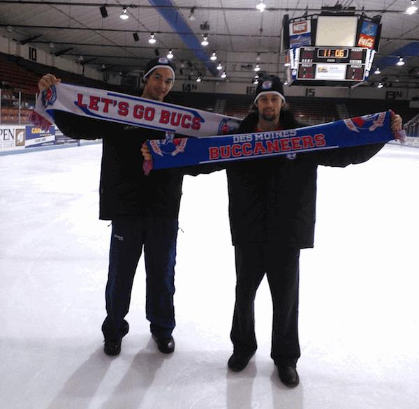 des moines Buccaneers hockey club custom scarves at ice rink