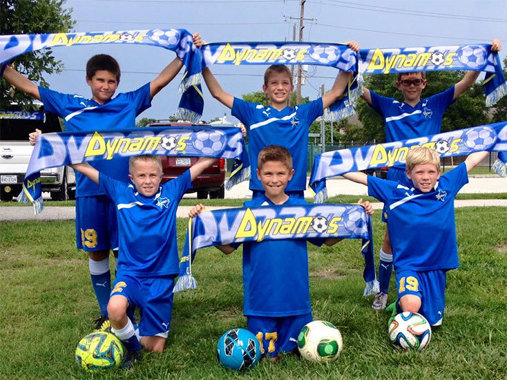 youth soccer kids holding custom dynamo scarves