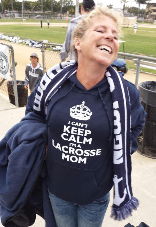 mom with newport harbor custom lacrosse scarf